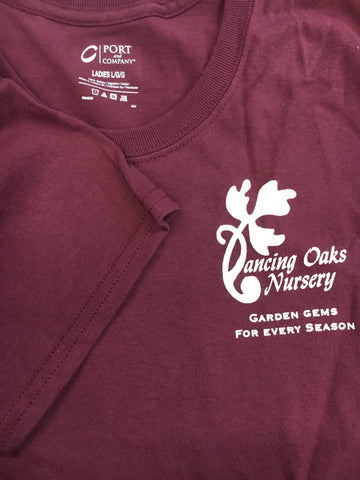 Apparel ~ T-Shirt, Short Sleeves, Women's, Maroon Plant Tiles ~ Dancing Oaks Nursery