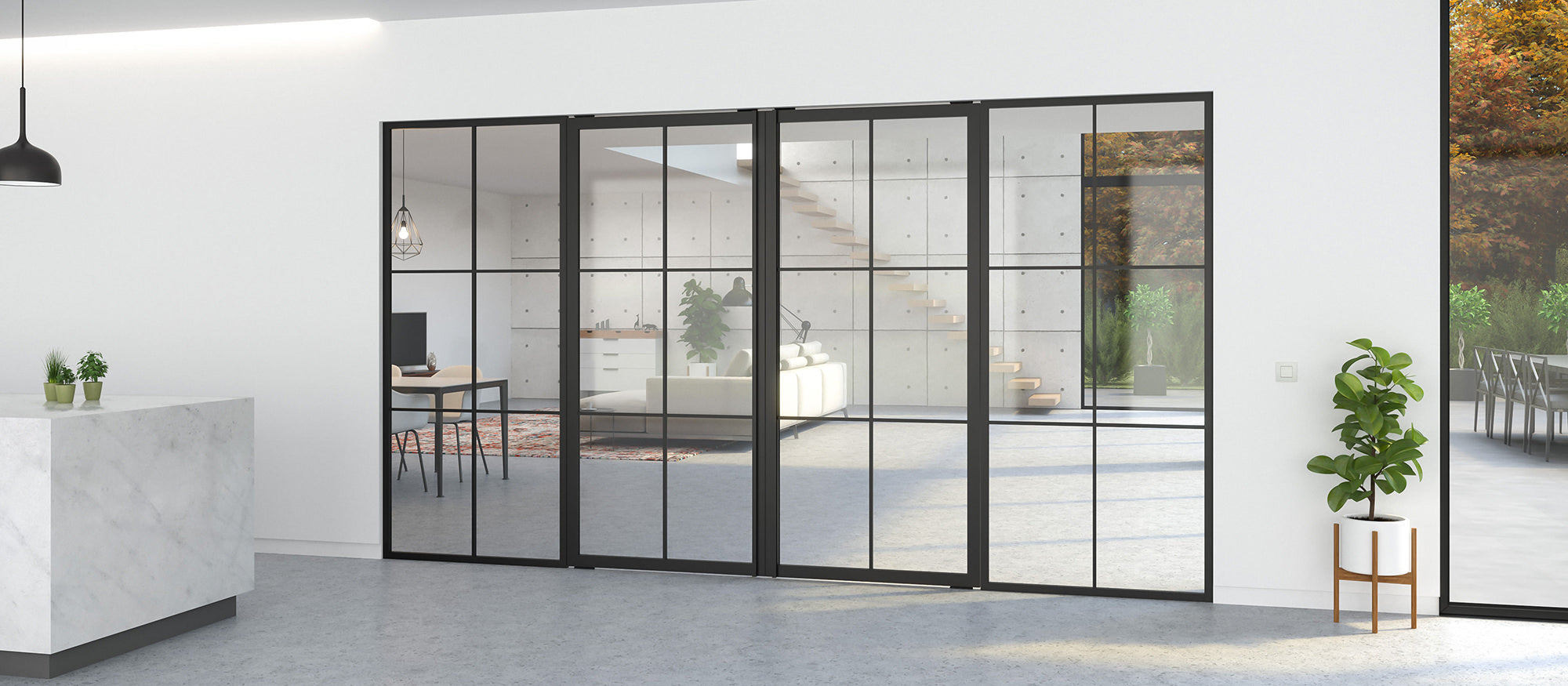 Double pivot door with fixed partitions