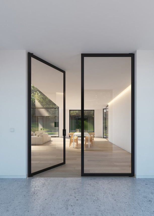 Double glass pivot door - Portapivot 6530 with Stealth Pivot hinges