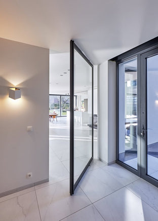 Glass and aluminium pivoting Room Divider made by ANYWAYdoors