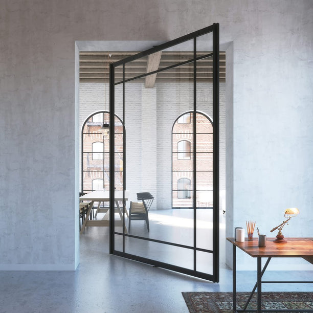 Glass pivot door with central axis pivoting hinge