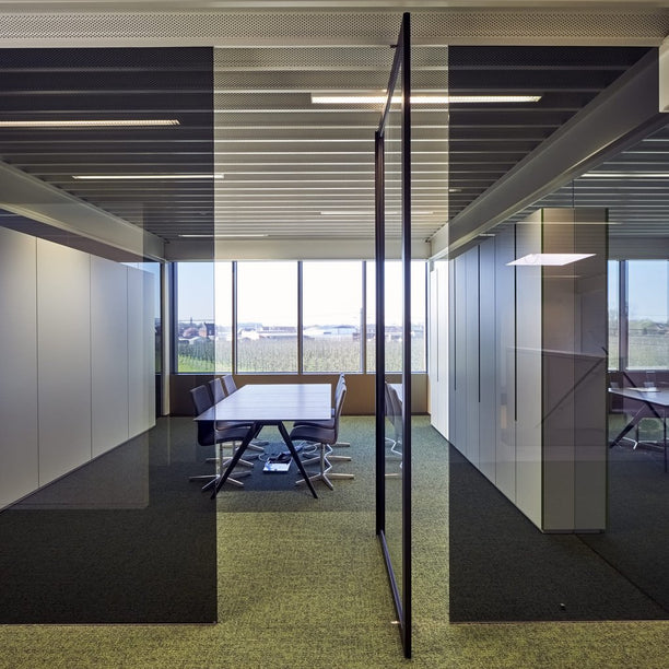 Portapivot 6530 XL glass and aluminium pivoting door between glass office partitions