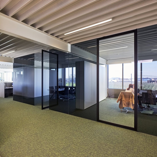 Portapivot 6530 XL glass pivot door between glass office partitions