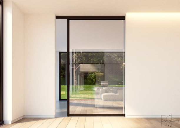 Portapivot glass sliding door with black anodized aluminium