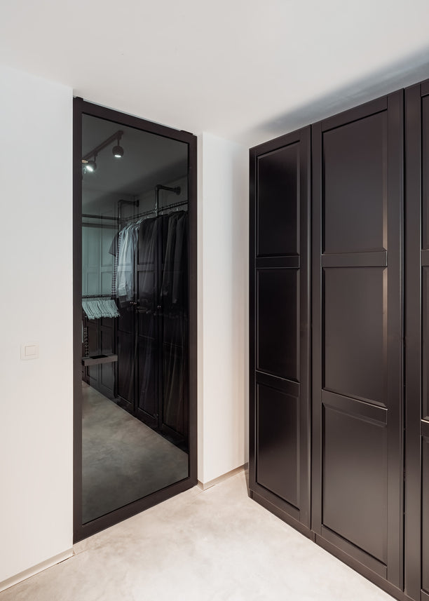 Black glass pivot door