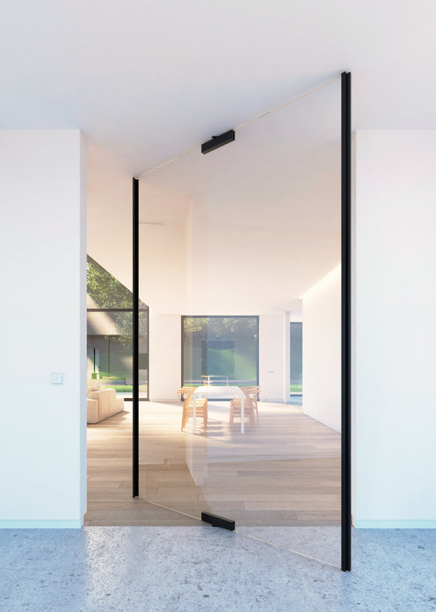 Glass pivot door with central axis pivoting hinge - Portapivot GLASS XL