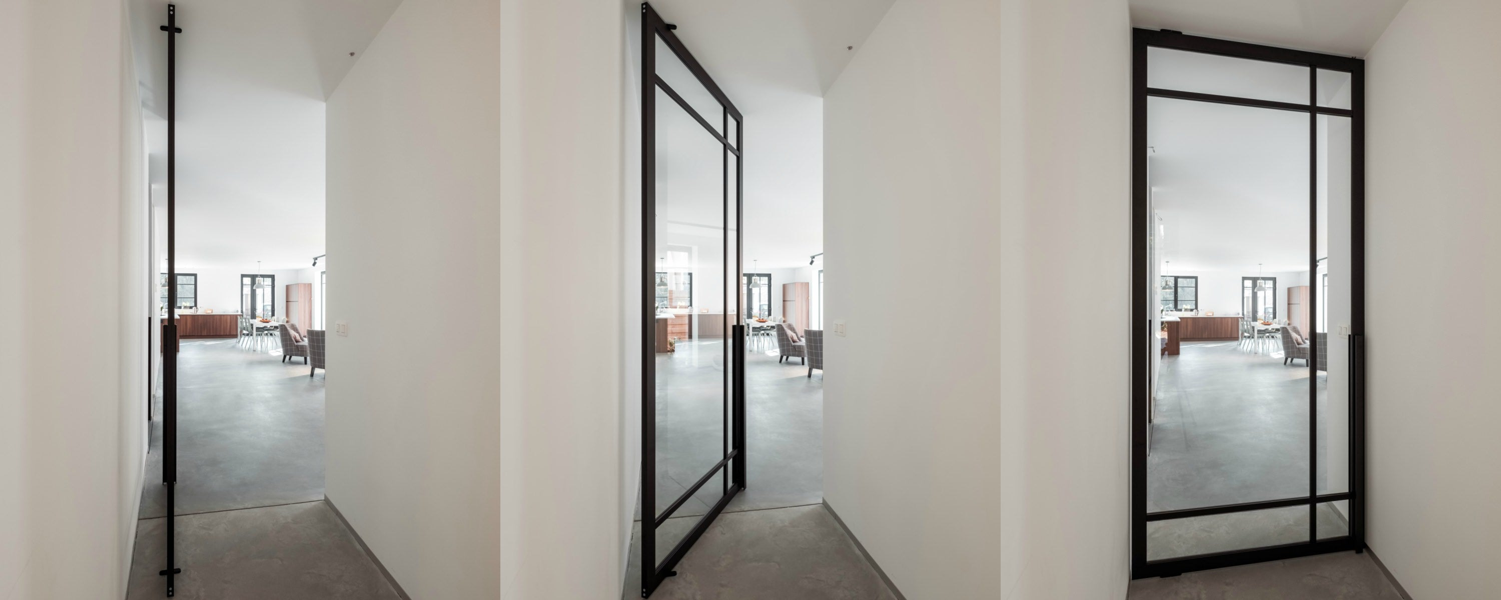 glass pivot door with steel look profiles