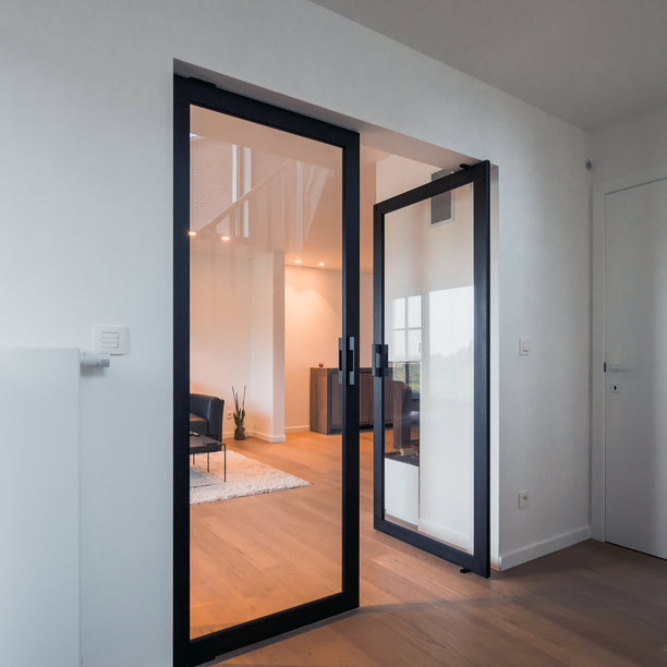 Double steel and glass pivot door