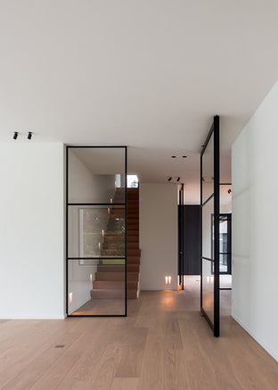 Steel and glass pivot door with fixed glass partition