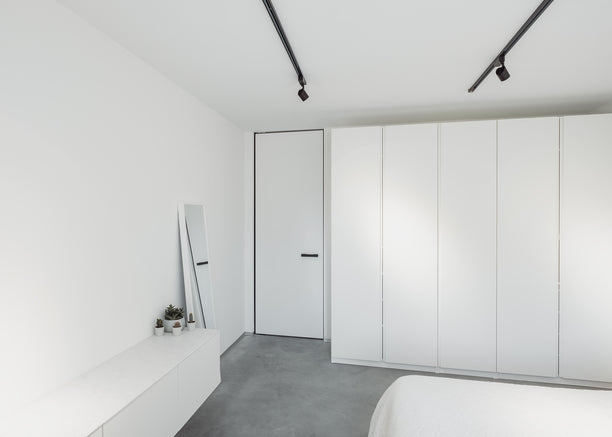 White pivot door with invisible pivot hinge