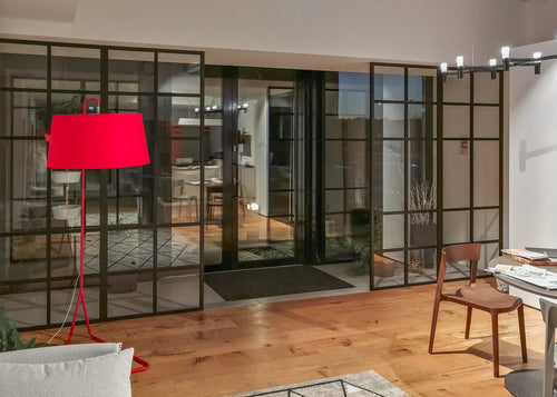 glass partitioning system black anodized aluminium