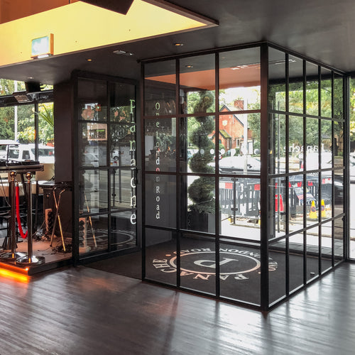 Fixed glass partition system aluminium