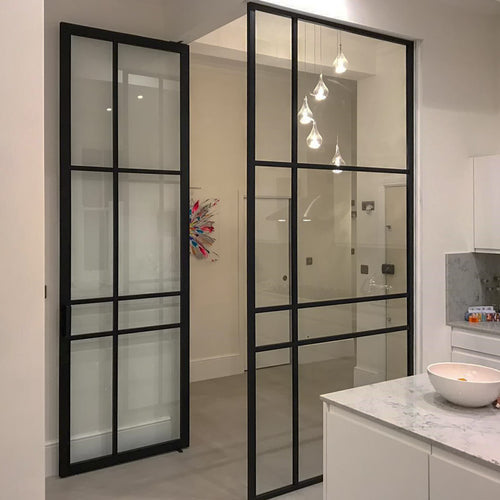 fixed glass partition crittall style