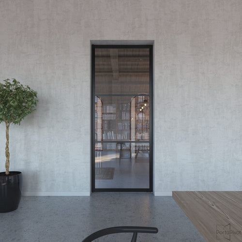 Portapivot 6530 pivot door with black anodized aluminium frame and 2 horizontal grid profiles