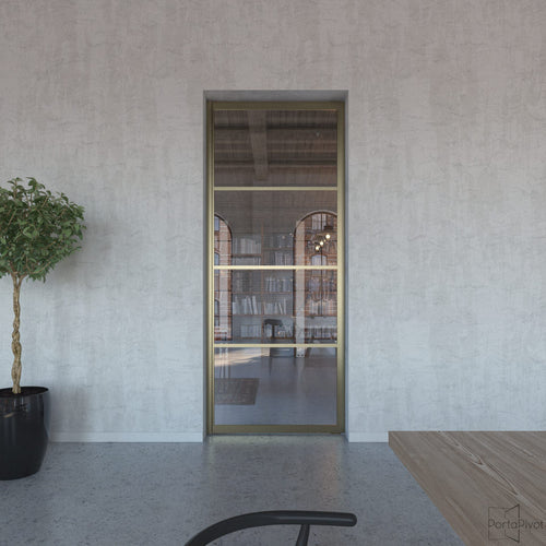 Portapivot 6530 pivot door with bronze anodized aluminium frame and 2 horizontal grid lines