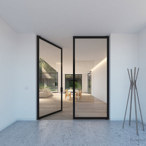 Portapivot 6530 double pivot door with black anodized aluminium frame