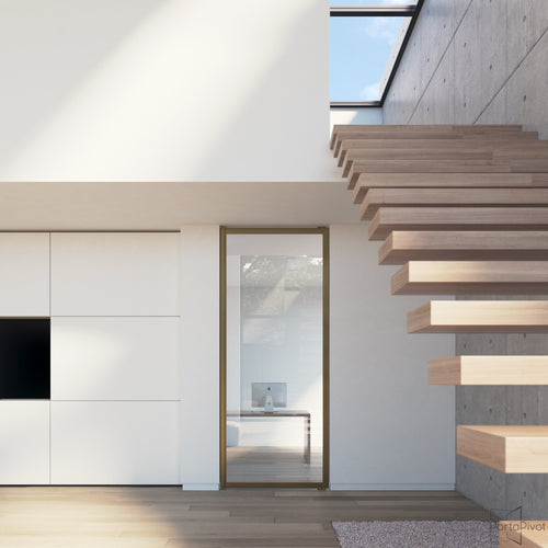 Portapivot 6530 pivot door with bronze anodized aluminium frame