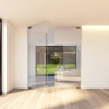 Double glass pivot door with bronze glass patch fittings