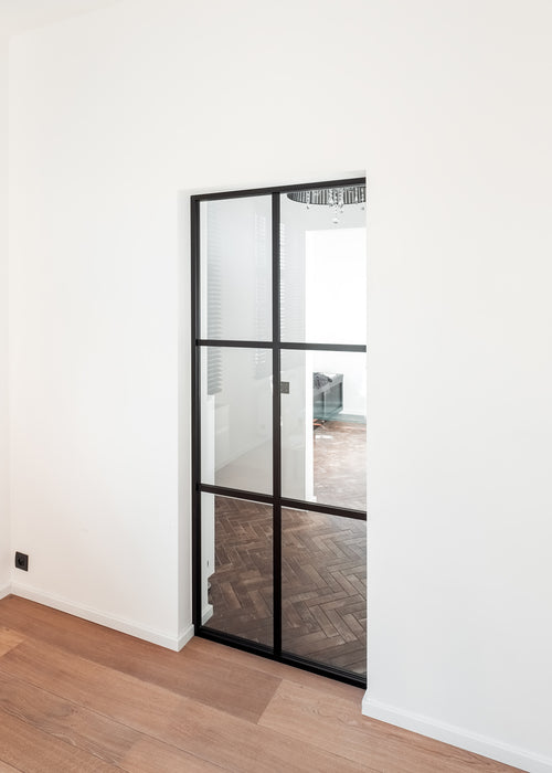 Fixed glass partition crittall style in aluminium