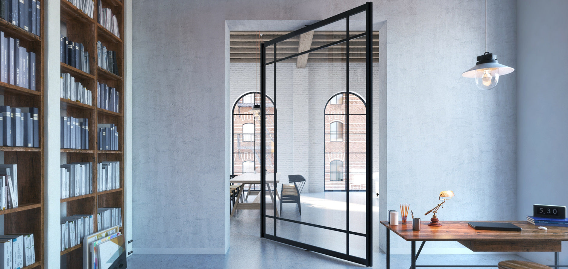 Pivoting room divider - Portapivot 6530 XL glass pivot door