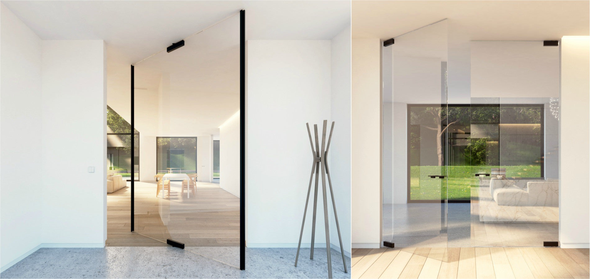 Glass pivot doors