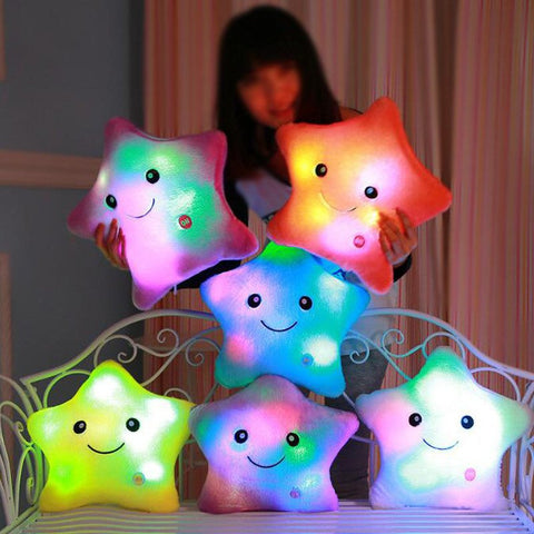 Cute Glowing Colorful Luminous LED Star Plush Pillow
