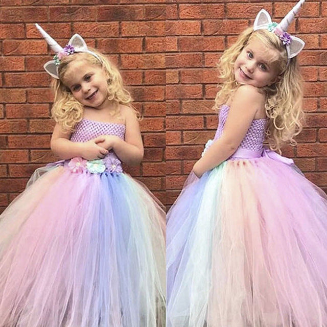 Flower Unicorn Tutu Dress For Kids