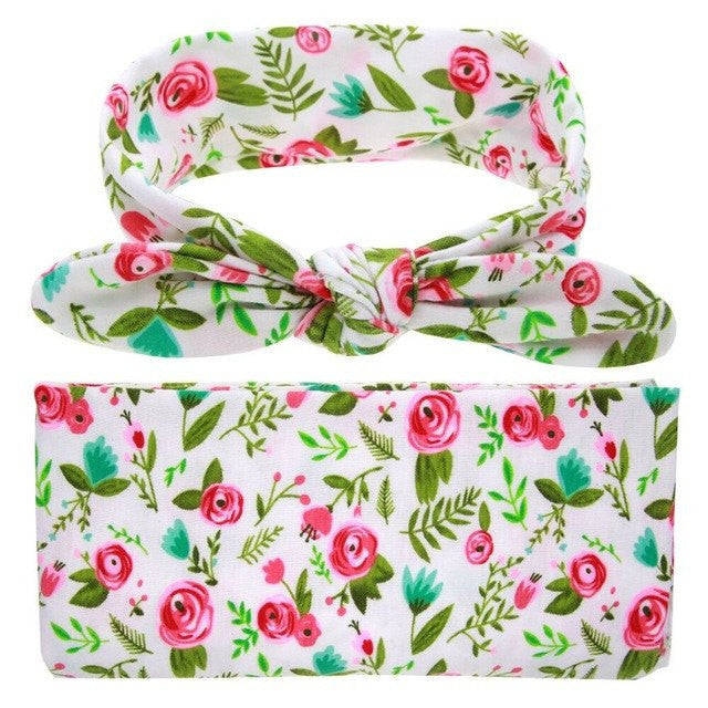 Floral Swaddle + Headband For Baby