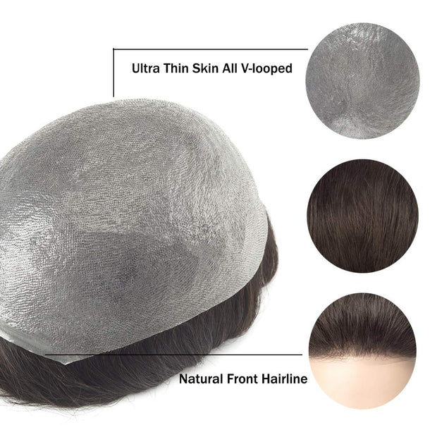 GEX Mens Toupee Hairpiece NG 0.03-0.04mm Ultra Thin Skin V-looped Hair Systems