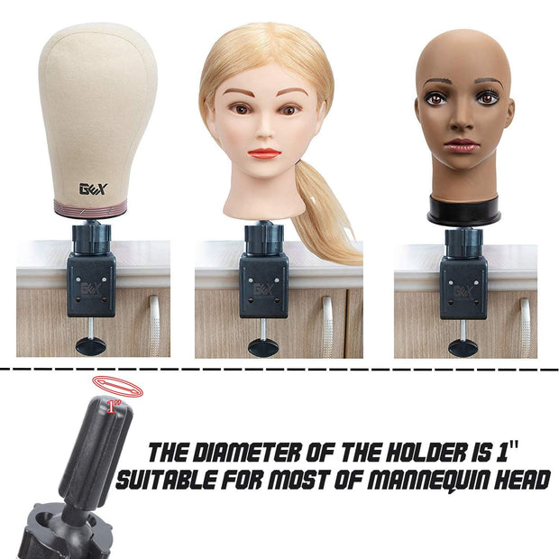 GEX Mannequin Stand Manikin Canvas Head Stand for Wig Display Black - GexWorldwide