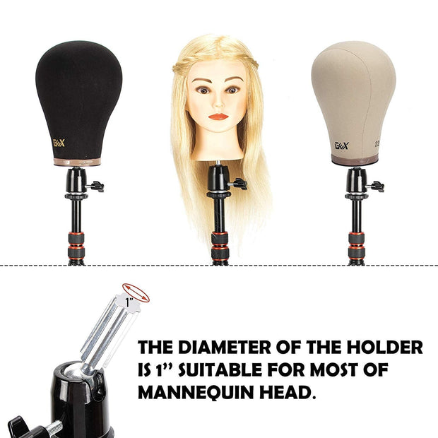 GEX Manikin Head Wig Stand for Cosmetology Hairdressing (Black) mannequin tripod- GexWorldwide