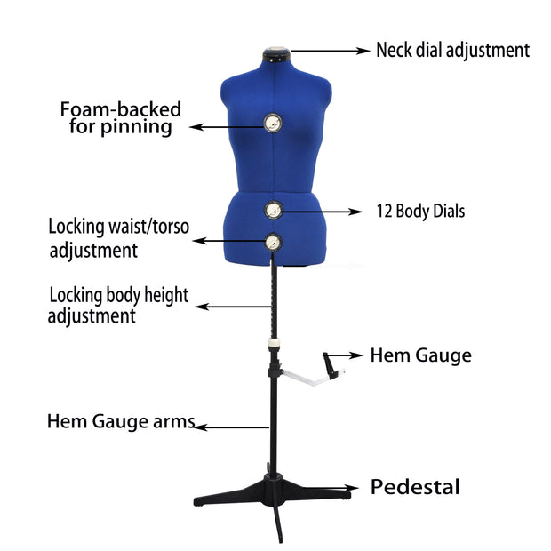 GEX 13 Dials Adjustable Dress Form Fabric-Backed Medium Size - GexWorldwide