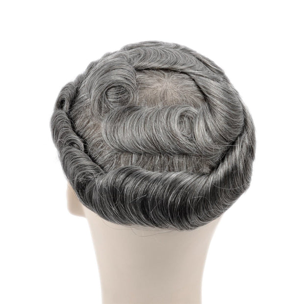GEX Mens Toupee Hairpiece Skin Human Hair Systems 1B65# - GexWorldwide