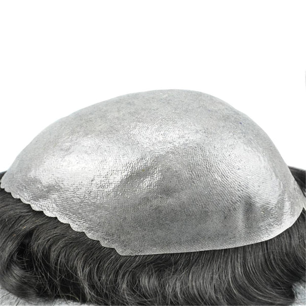 GEX Mens Toupee Hairpiece Skin Human Hair Systems 1B80# - GexWorldwide