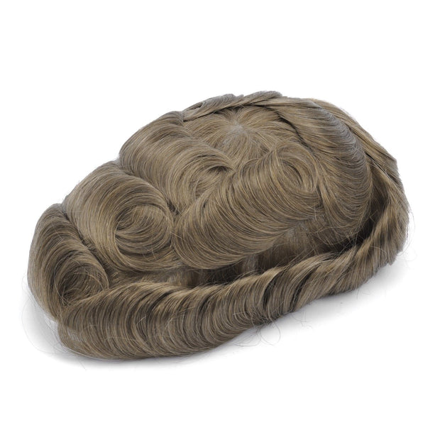 GEX Mens Toupee Hairpiece Skin Human Hair Systems 18# - GexWorldwide