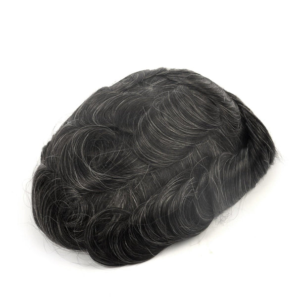 GEX Mens Toupee Hairpiece Skin Human Hair Systems 1B20# - GexWorldwide