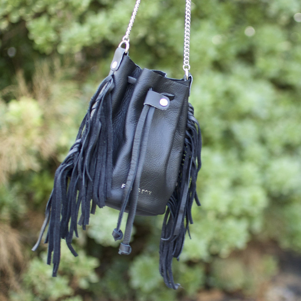 Mini bucket bag with fringe