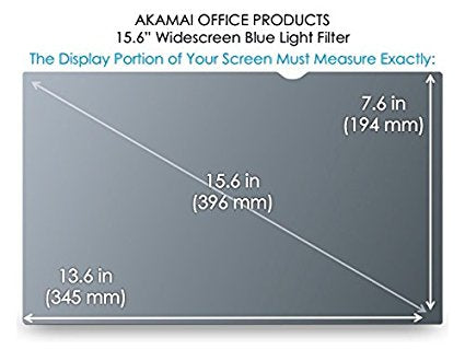 15.6 inch Widescreen Akamai Office Products Blue Light Screen Protector Anti Glare 16:9 , Blue Light Defense
