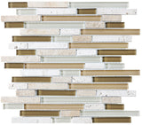 Bliss Bamboo Stone and Glass Linear Mosaic Tiles - rockypointtile-ca