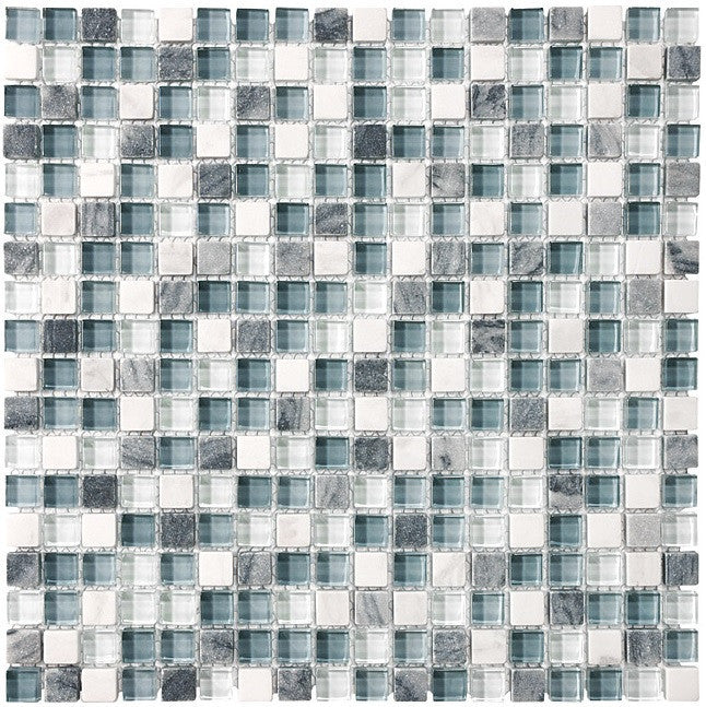 Bliss BSW58 Stone and Glass Square Mosaic Tiles - rockypointtile-ca