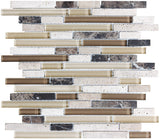 Bliss Cappucino Stone and Glass Linear Mosaic Tiles - rockypointtile-ca