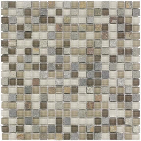 Vetro Italia Como Stone and Glass Square Mosaic Tiles - rockypointtile-ca