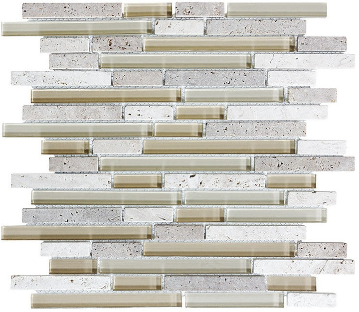Bliss Creme Brulee Stone and Glass Linear Mosaic Tiles - rockypointtile-ca