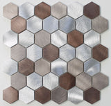 Casablanca Brushed Aluminum 2 Inch Hexagon Mosaic Tiles - rockypointtile-ca