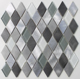 Metro Diamond Brushed Aluminum and Glass Mosaic Tiles - rockypointtile-ca