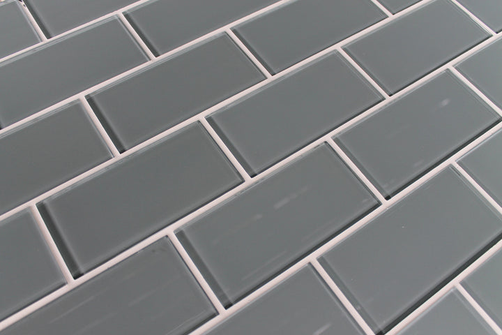 Chimney Smoke Grey 3x6 Glass Subway Tiles - rockypointtile-ca