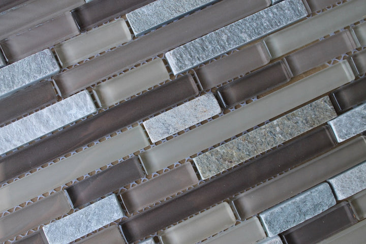 Vetro Italia Bolzano Stone and Glass Linear Mosaic Tiles - rockypointtile-ca