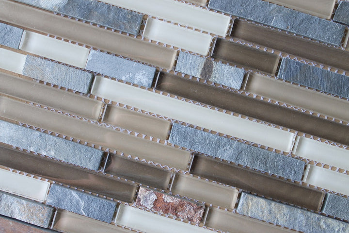 Vetro Italia Como Stone and Glass Linear Mosaic Tiles - rockypointtile-ca