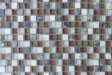 Bliss Cabernet Stone and Glass Square Mosaic Tiles - rockypointtile-ca