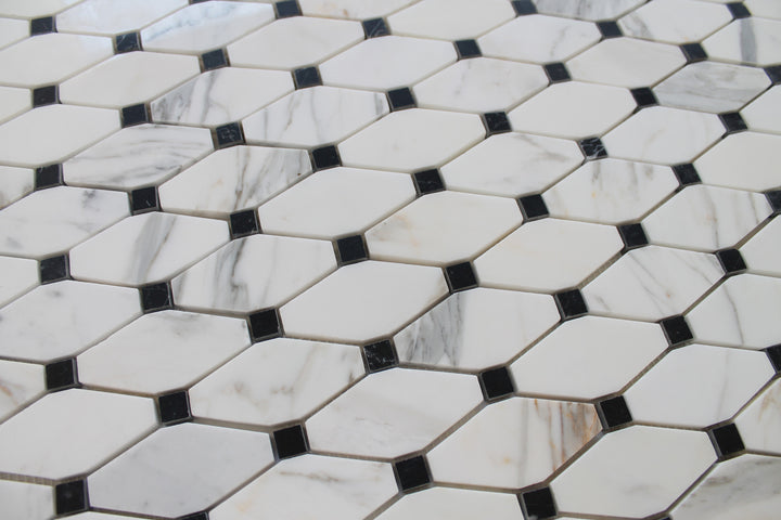 Octagon with Black Dot Calacatta Gold Polished Marble Mosaic Tiles - rockypointtile-ca